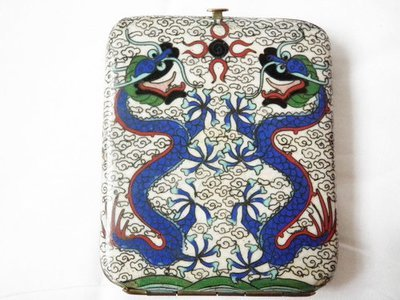 Antique Cloisonne Dragon and Serpents Cigarette Case in Brass
