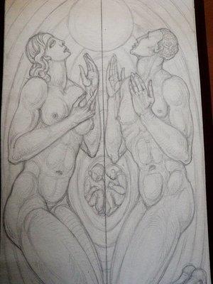 Art Deco Graphite of Creation Adam and Eve by Heinrich Arad Schmidt