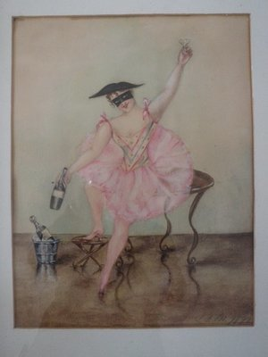1893 Signed French Avant Garde Harlequin Mardi Gras Party Watercolor Painting