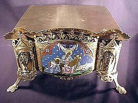 19th French Elaborate Solid Brass Enameled Bible, Missal, Book Stand
