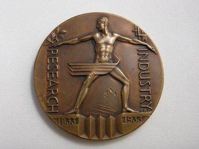 Austrian Art Deco Bronze Chicago Exposition 1933 Industry and Research Medal Sg'd Zeittler