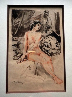 Art Deco Watercolor Nude Woman Painting Framed Corey Rutry