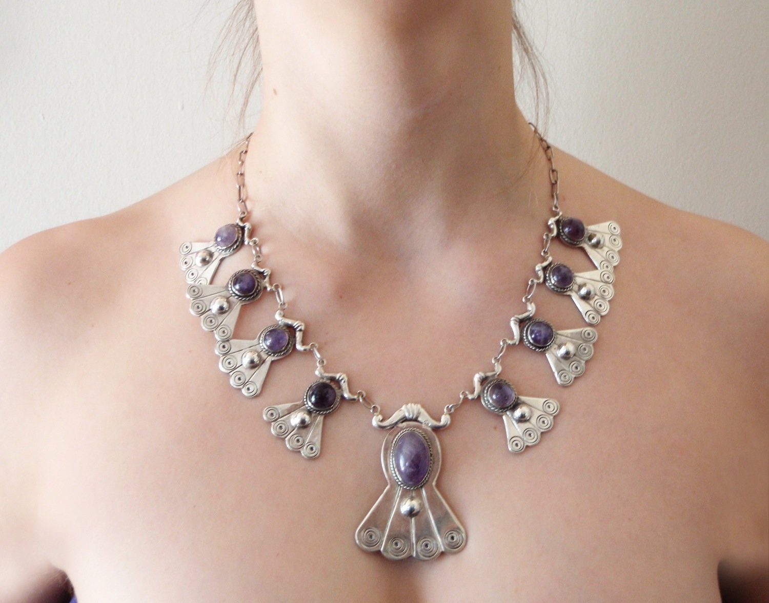 Pre 1948 Taxco Amethyst Repousse 19 In Dangle Necklace 100 Grams