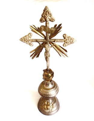Art Nouveau Silverplated Tin Copper Hand Tooled Cross