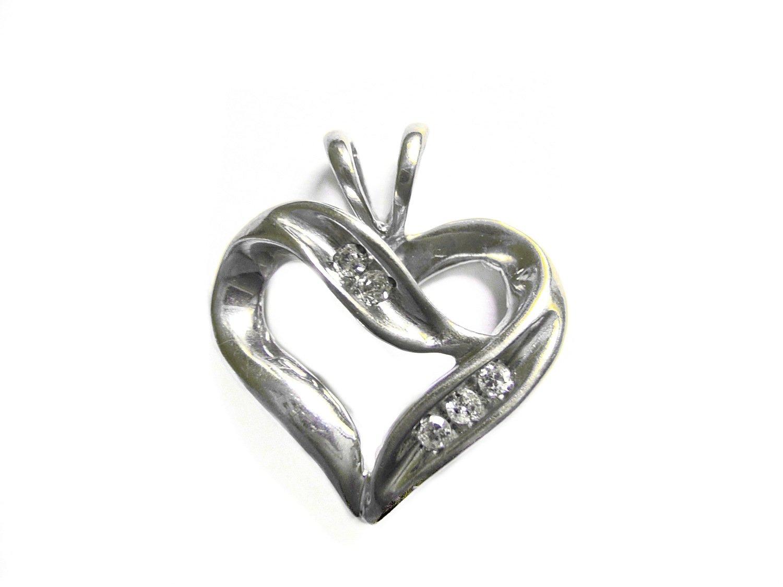 Open Heart 5 Diamond Pendant 10k White Gold Pendant