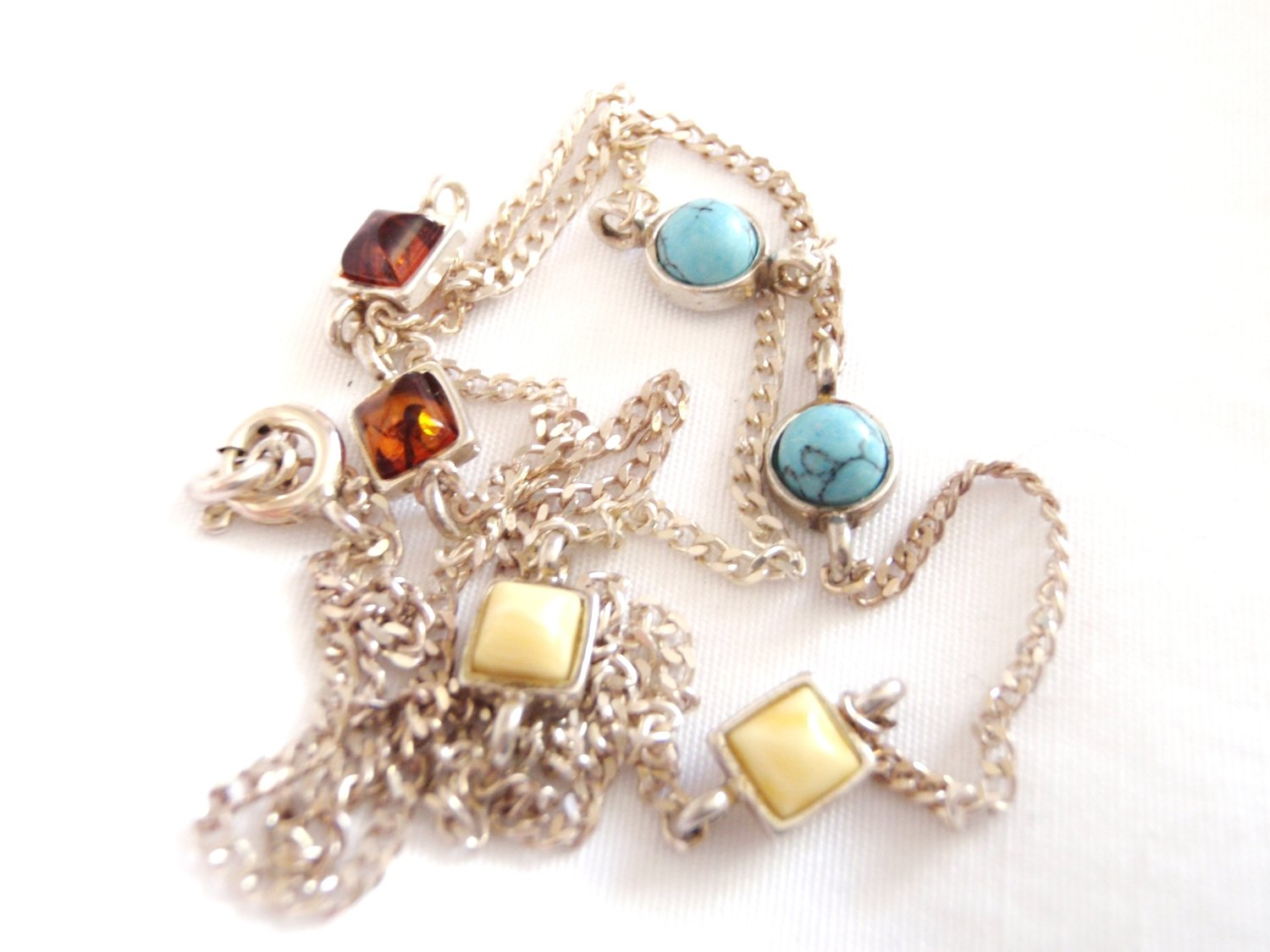 Turquoise Amber Silver Station Necklace Persian Turquoise Baltic Amber