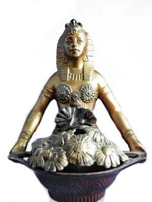 Vantines Art Deco Gilded French Egyptian Revival Lady Incense Burner w/ Original Pot Lid