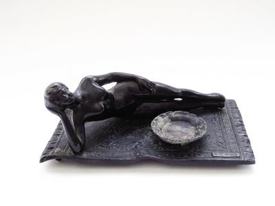 Art Deco Nude Flapper Incense Burner Reclining Naked Woman