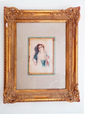 Vintage Young Lady Watercolor Painting Decorative Gilt Frame - After Harrison Fisher