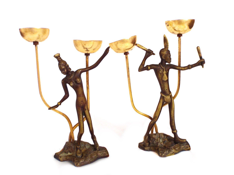 2 Art Deco Bronze Incense Burners African Nude Bronze Figurines Hagenauer Rosenthal Era