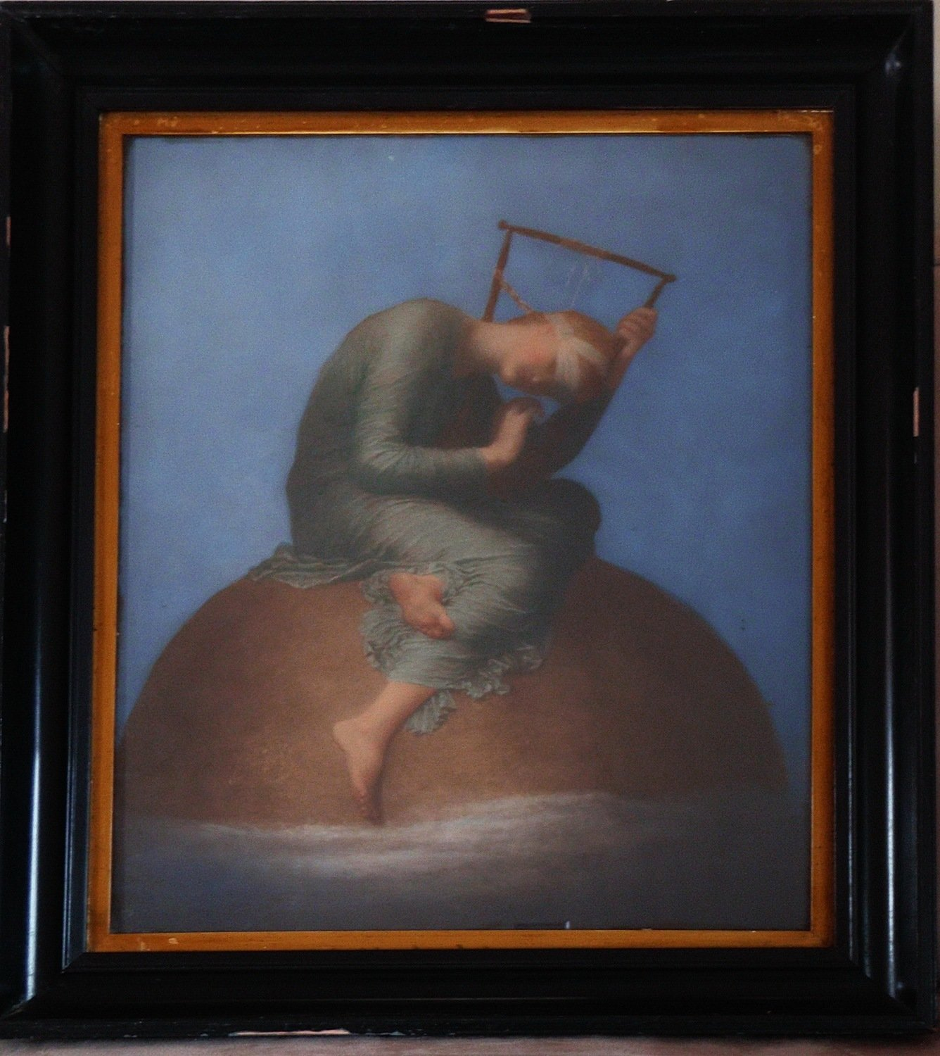 Antique Pastel Painting Hope by George Frederick Watts