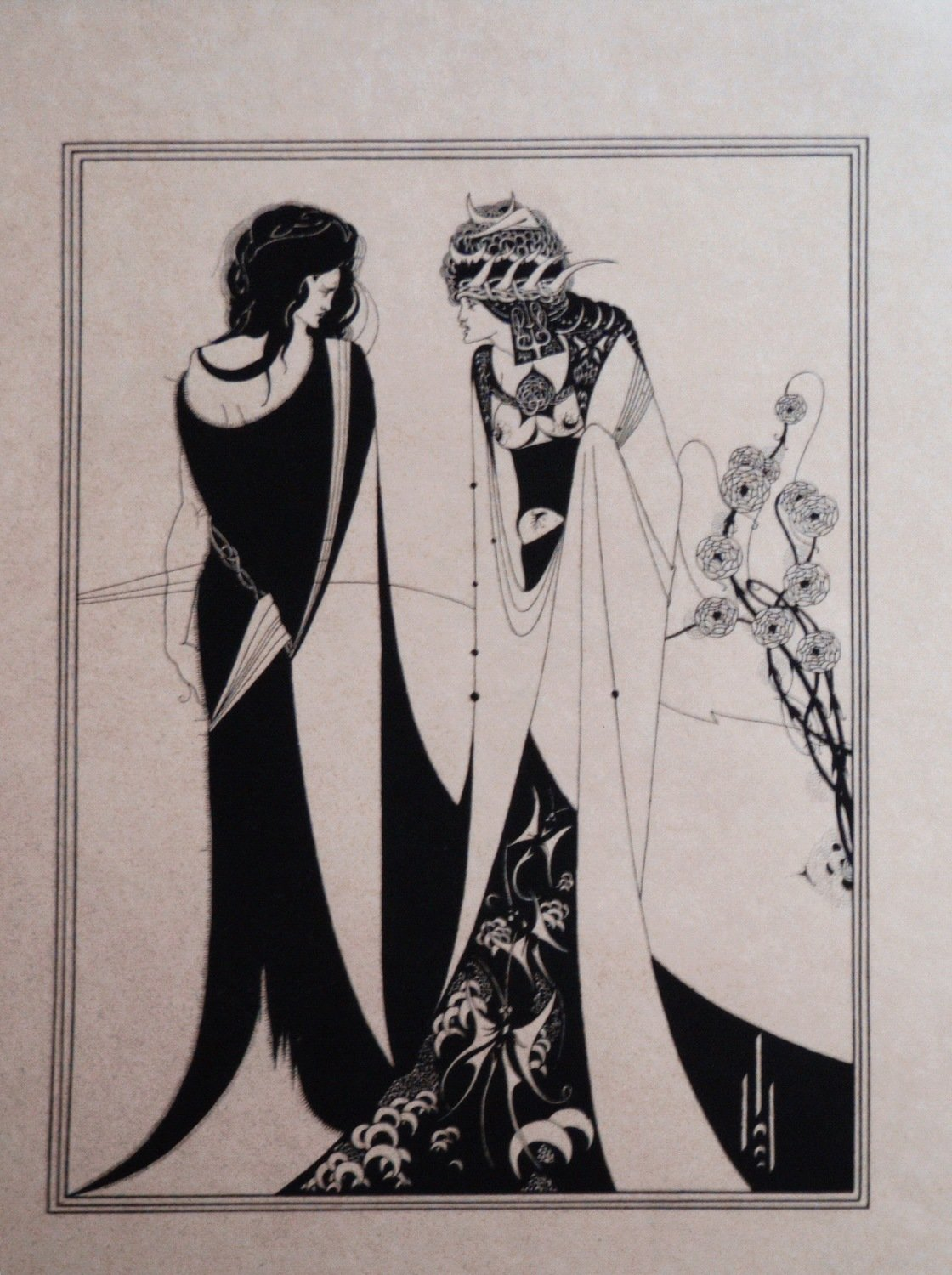 1920s Aubrey Beardsley Lithograph Salome and John the Baptist - Illustration For Oscar Wilde