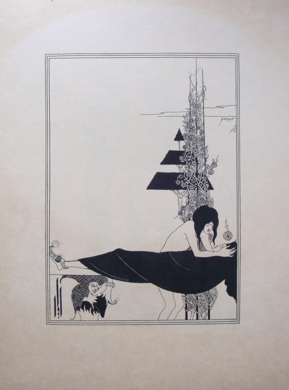 1920s Aubrey Beardsley A Platonic Lament Lithograph Oscar Wilde Salome