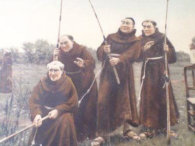 Antique Friary Hand Colored Lithograph Franciscan Monks Fishing
