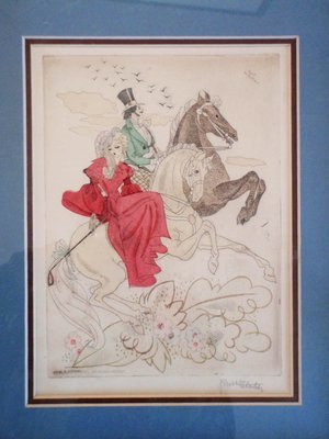 Art Deco hand Color Etching Signed Kurt Hilscher Lovers Riding