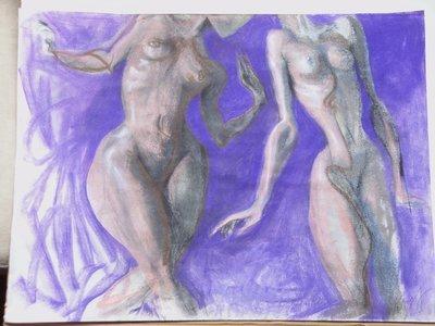 Original Diane Knopf Painting Two Naked Women Chalk, Conte