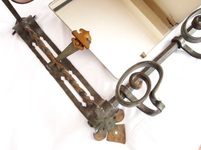 Antique Arts Crafts Wrought Iron Coat Hanger Hall Mirror Hat Rack