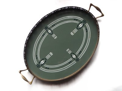 Antique Villeroy Boch Oval Sage Green Secessionist Ceramic Tray