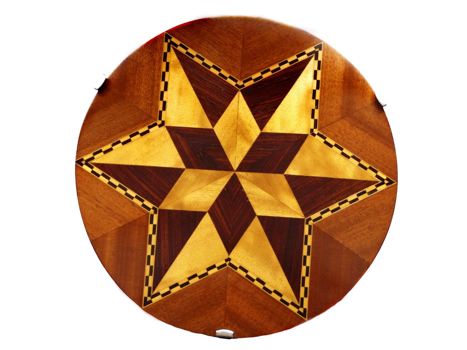 Vintage Star Exotic Wood Marquetry Drink Tray Lazy Susan Platter