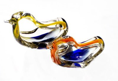 TWO Barbini Murano Birds Sommeroso Encased Glass MCM Bowl  Ashtray