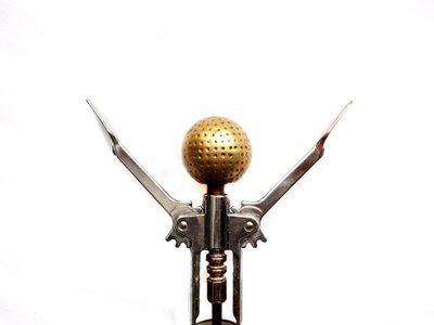 Vintage Brass Golf Ball Corkscrew Golfing Barware - Bottle Opener