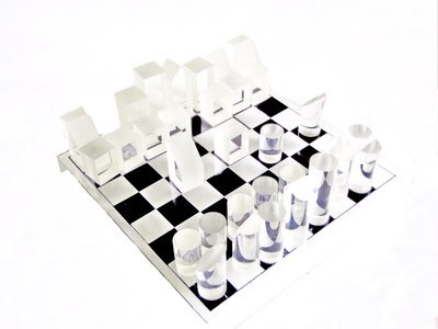 MCM Lucite Chess Set Mid Century Acrylic Chess Board and Pieces