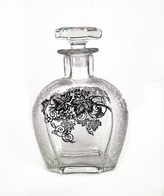 Art Deco Silver Overlay Etched Crystal Scotch Bottle Decanter
