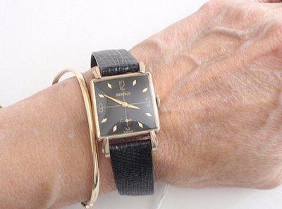 MCM 1950's Benrus Watch Mid Century Wristwatch Black Enamel - Unisex