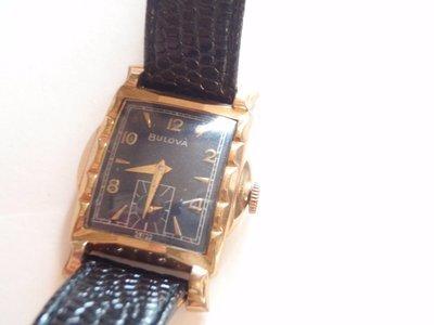 1955 Bulova 10k GF Blue Dial Fancy Lug Dress MCM Watch