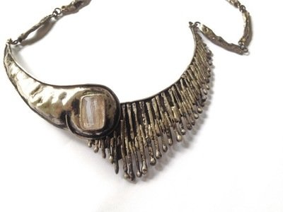 1960s Brutalist Mid Century Sterling Silver Necklace with Rutilated Quartz Crystal
