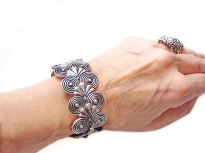 Vintage Taxco Silver Cuff Bracelet Art Deco  Flexible Links