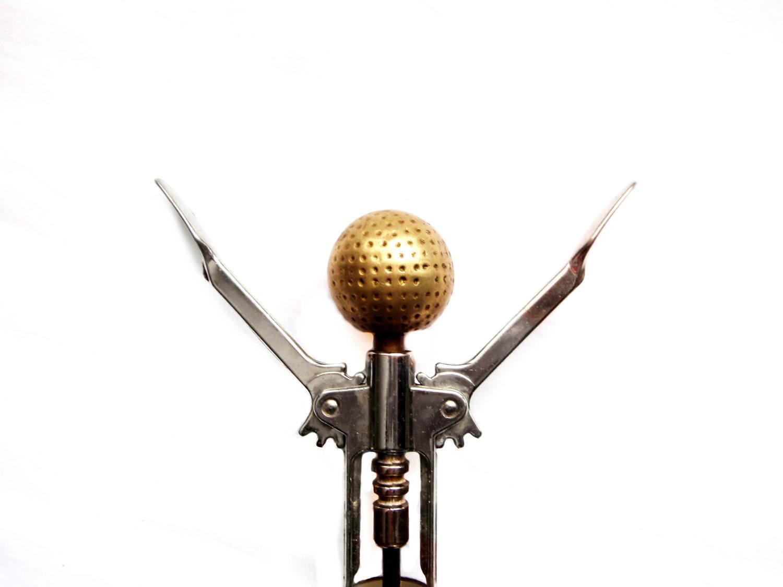 Vintage Brass Golf Ball Corkscrew Golfing Barware - Wine Bottle Opener Sportsman