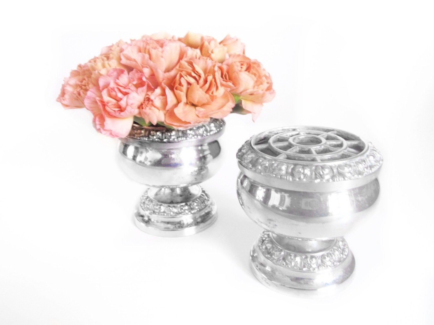 2 Silver Plated Rose Posy Bowl Bowls - Vintage Flower Frog MCM