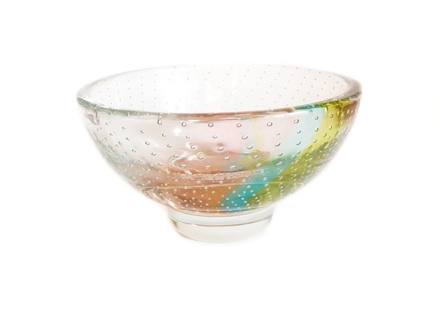 Mid Century Controlled Bubbles Bowl Translucent Blue Pink and Yellow Art Glass Candy Bonbon or Jewelry