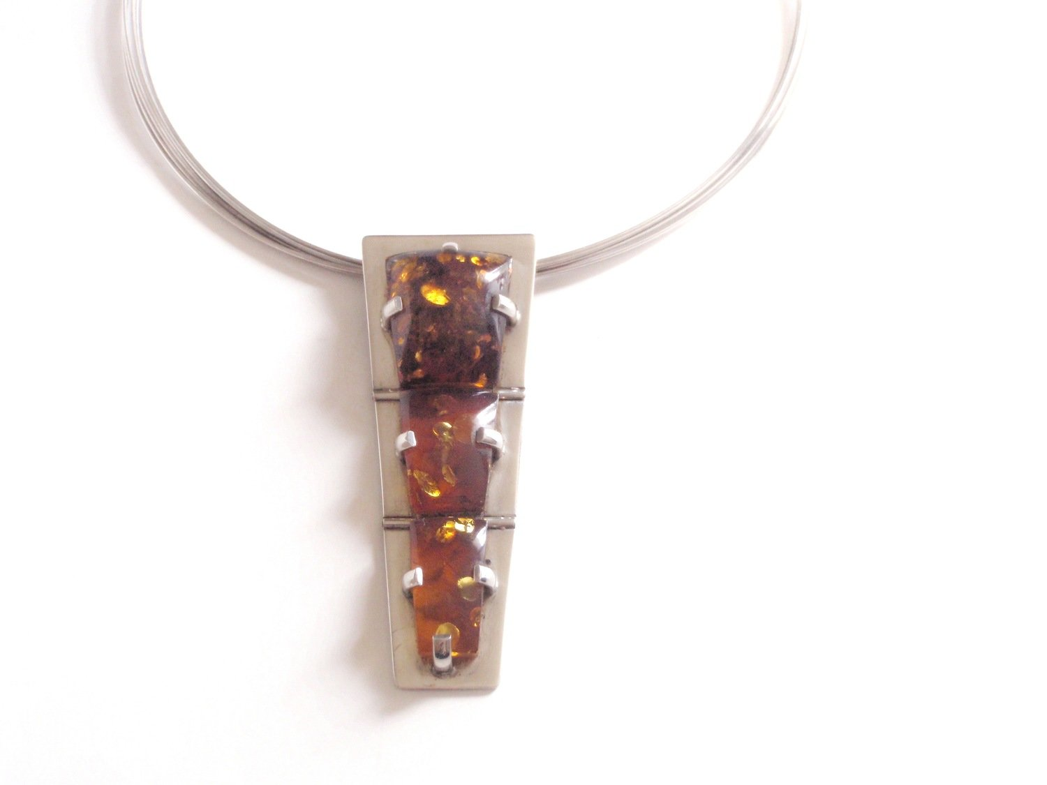 RARE Artisan 3 Section Hinged Amber Necklace on Hard Wire Chain