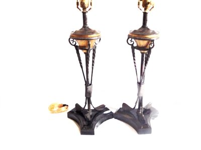 2 Maitland Smith Golf Club Lamps Vintage Golfing Bronze Verdigris Library, Den or Office Lighting