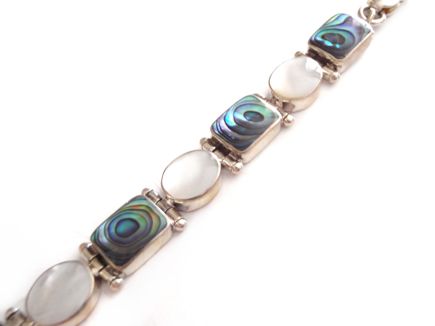 Abalone Shell and Mother Of Pearl Silver Link Bangle Bracelet