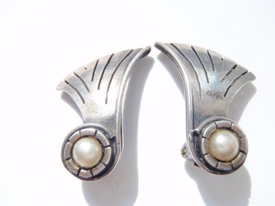 William Spratling 1940s Pearl Earrings Taxco Silver Pearls Eagle 13