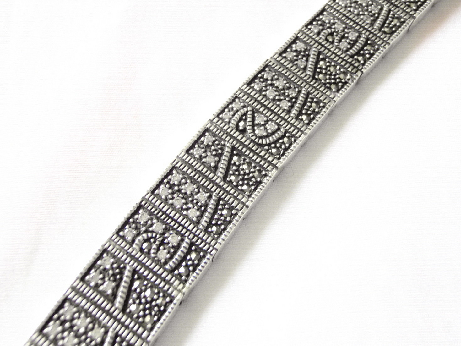 Vintage 80s Art Deco Revival Swarovski Crystal Silver Bracelet