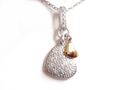NOS Sterling Silver and Gold Double Heart Necklace with Chain