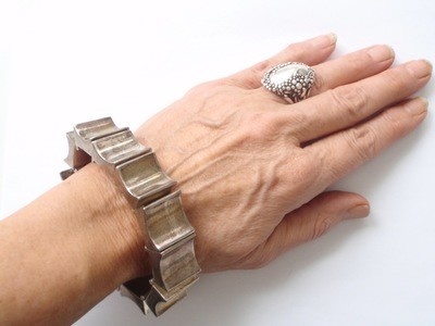 Silver Wide Bold Link Taxco Mexico Cuff Bracelet Signed
