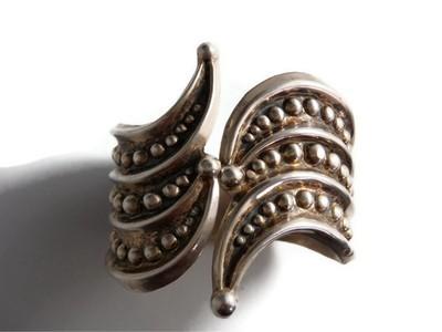 Art Deco Taxco Mexico Silver Beaded Clamper Cuff Bracelet