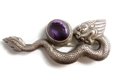 Vintage Siam Sterling Silver and HUGE Amethyst Dragon Pin Sg'd