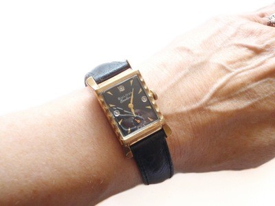 1951 Bulova Watch Diamond Dial Scalloped Case Flared Lugs 10k Gold Fill