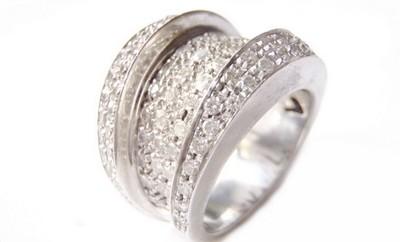 Diamond Modernist Asymmetrical Cocktail Wedding 14k White Gold Ring