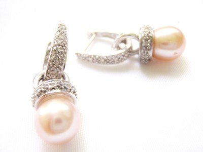 Pearl Diamond Earrings Pendant, 14k White Gold Pink Pearls