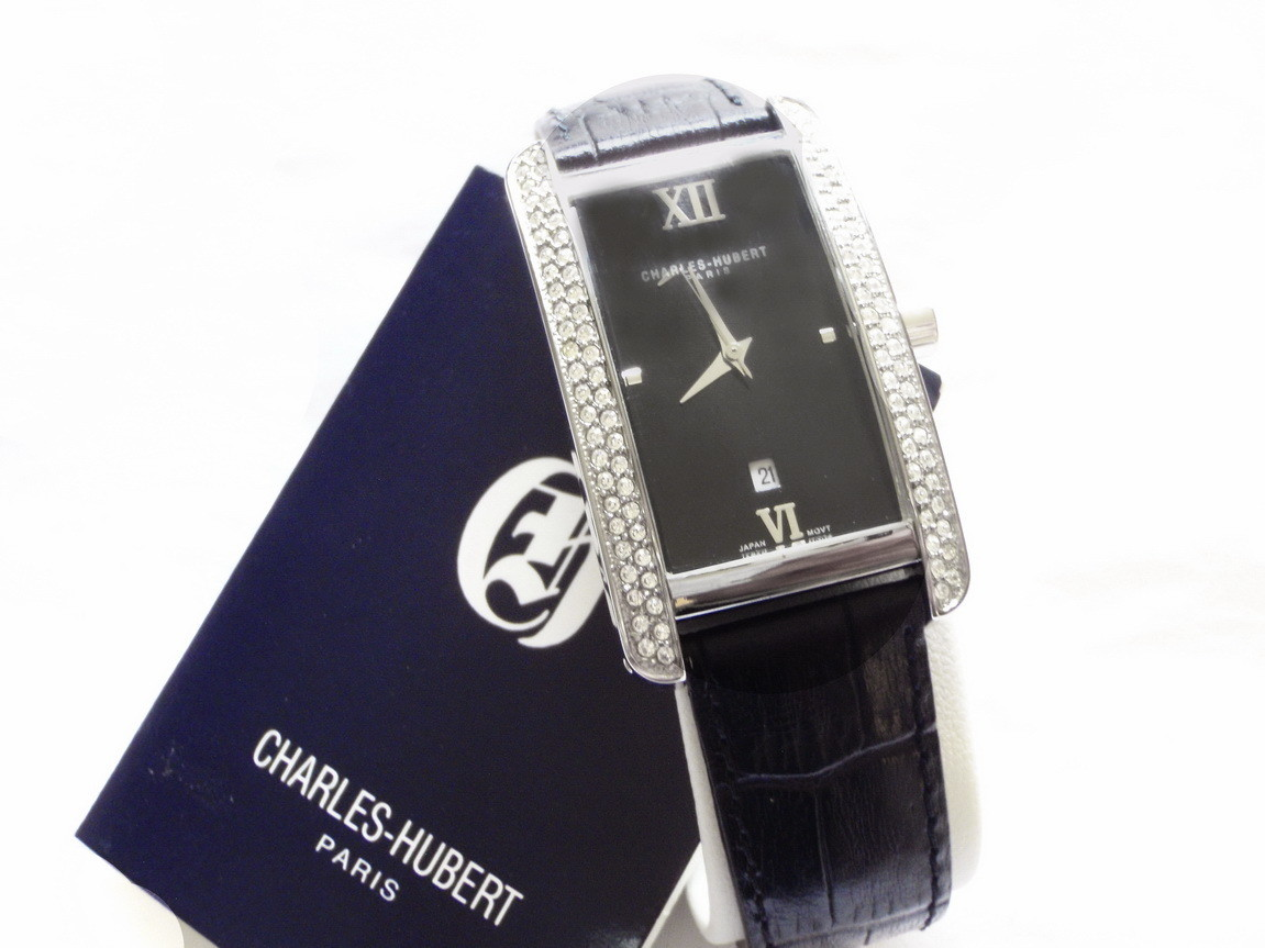 NOS Charles Hubert Paris Long Tonneau Crystal Watch
