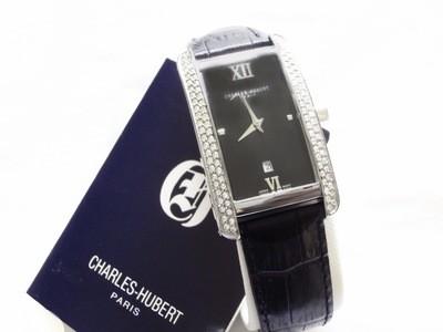 NOS Charles Hubert Paris Long Tonneau Crystal Watch