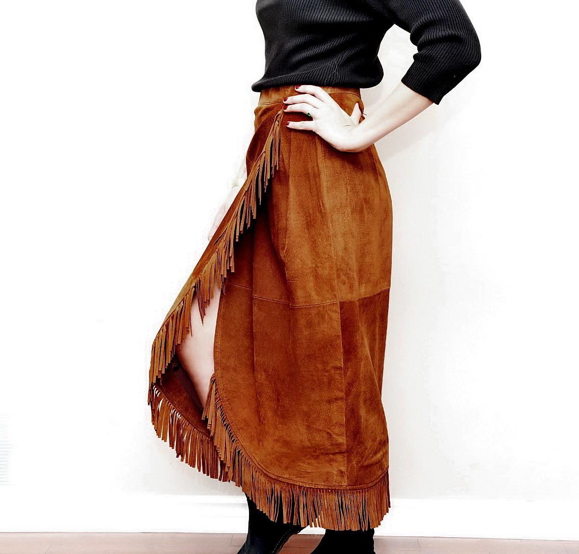 Southwestern Full Length Suede Fringed Skirt Tristan Iseut