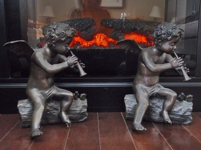 Vintage Bronze Cherubim Sculptures for Fireside Fireplace Mantle